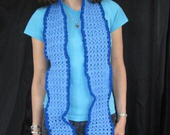 Blue Ripple Crochet Scarf