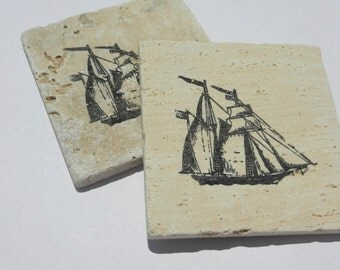 Ship Stone Tile Coaster- Set of 4