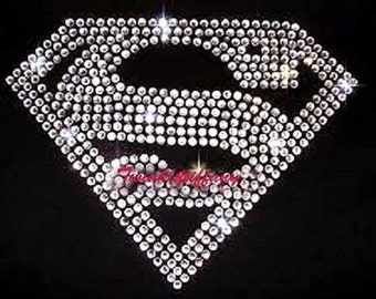 "hotfix rhinestones heat transfer Iron on  ""superman crystal """