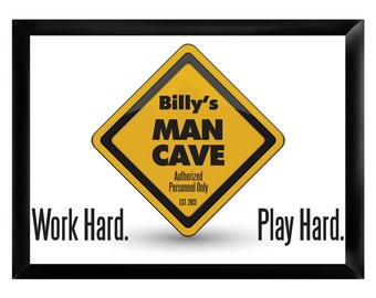 Work Hard Play Hard Personalized Mancave Sign Pub Sign (268)