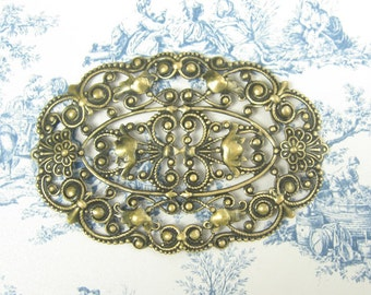 Large Oval Brass Filigree Stamping Antiqued Gold Ox Plated Brass 2-142-GO