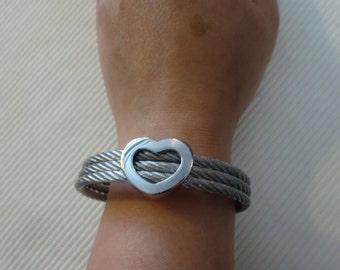 Stainless steel cuff bracelet chunky rope twist bangle romantic funky bold street style heart charm designer boutique lolita kawaii cute