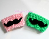 Crochet Reusable Mustache Coffee Sleeve, Coffee Cozy, Environmentally Friendly