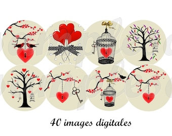 Valentine 1 inch  circle heart tree bird poetic grey red - digital collage for pendant. Digital images