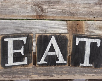 Eat Sign Blocks Letters Rustic Reclaimed Wood Country Kitchen Decor. Eat Blocks Have Been Hand Painted