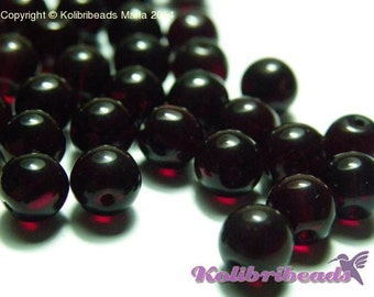 25x Round Glass Beads 6 mm - Garnet