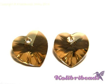 2x Swarovski Heart 10x10 mm (6228/6202) - Crystal Golden Shadow