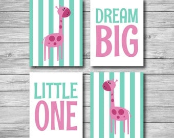 Nursery Print Giraffe - Safari Dream Big Little One Wall Art Stripes 8 x 10