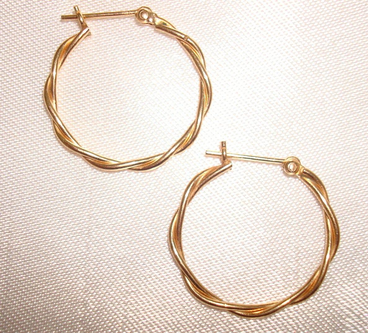 14k gold double wire twisted hoop earrings pierced ear gold. Black Bedroom Furniture Sets. Home Design Ideas