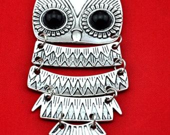 2pcs of Antique Silver Huge Flexible Owl Charm Pendant ---43*82mm-----G452
