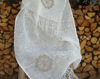 Women's clothing Linen  shawl scarf  with crocheted motifs for ladies Eco linen Natural linen wrap Handmade A great gift FASHION ACCESSORIES