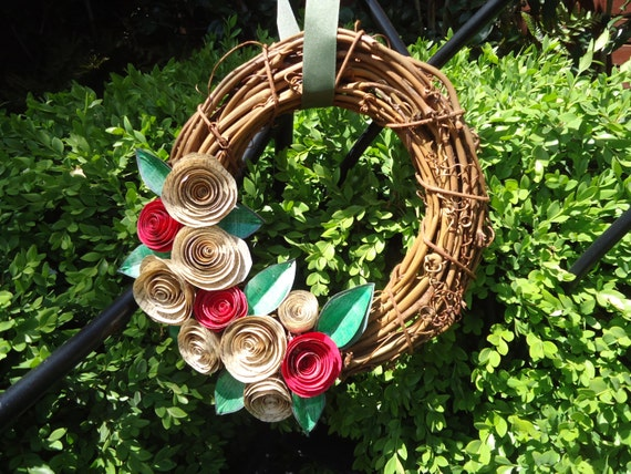 Book Wreath w/ handmade paper flowers from vintage paper red and white roses