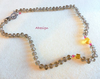 Smoke grey crystal necklace, beadwork, Swarovsky  necklace,