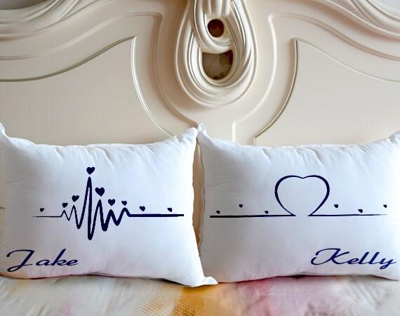 coeur battements oreiller cas oreiller literie personnalis. Black Bedroom Furniture Sets. Home Design Ideas