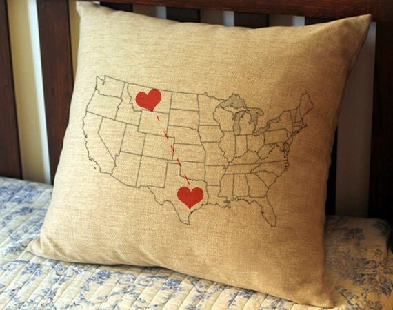 Personalized Pillow CaseCustom State Map Pillow CaseLong - Us map pillow personalized