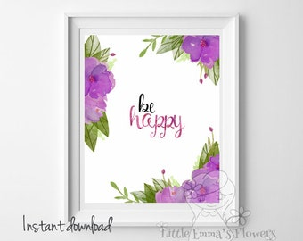 Inspirational Art Wall decor be happy print life quote Inspiring Joy Motivational Art Typographic Print Kids Wall Art  nursery decor 35-35
