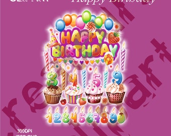 Happy Birthday Digital Clipart Elements Set / 20 PNG/JPG/ For Personal and Commercial use/ Clip Art/ Instant Download
