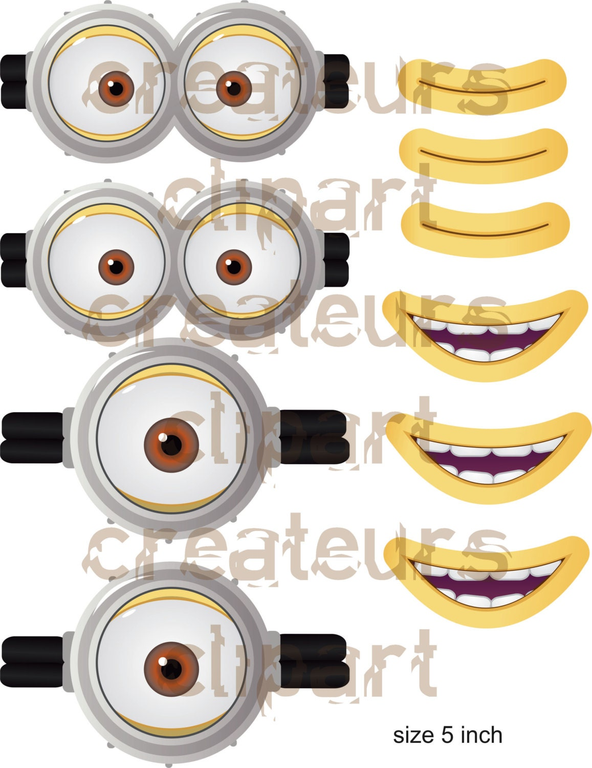 instant download minion goggles mouth. Black Bedroom Furniture Sets. Home Design Ideas
