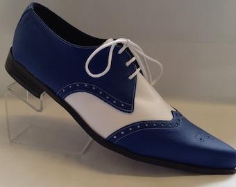 Bugsy Brogue Winklepicker Shoe in Blue/White Leather