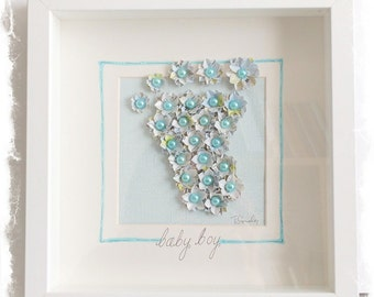 SALE! Shadow box frame with flower Baby Foot - Blue