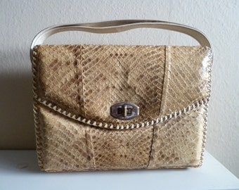 Vintage Snakeskin purse  with leather stitching detail