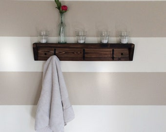 Three hook reclaimed wood towel rack // coat rack with shelf