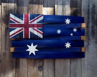 Custom, Handcrafted, Rustic, Hand Painted, Australia Wine Barrel Flag Wall Decor