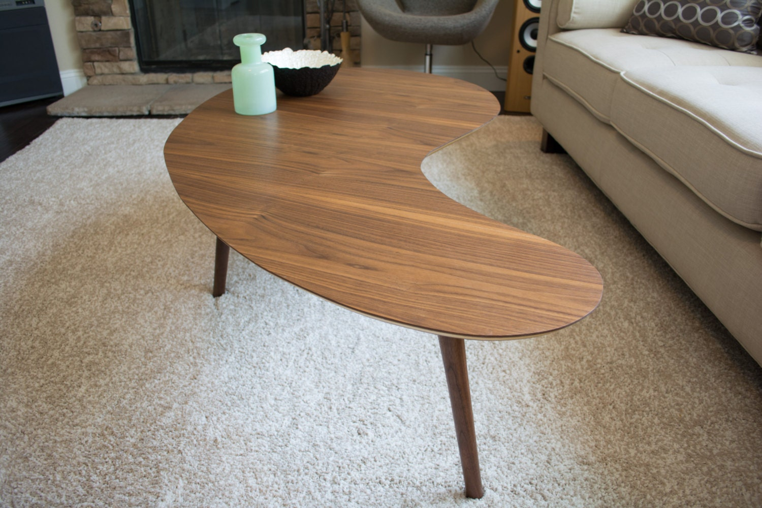 Mid century modern coffee table walnut kidney bean extra for Mid century modern coffee table