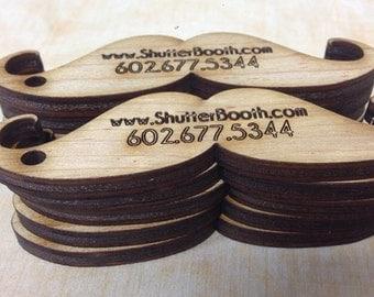 Wooden Mustache Business Cards