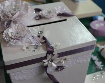 Glam Wedding special event Card Box with ribbon flower of your choice