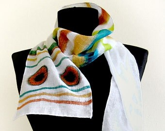 Hand painted cotton scarf . Striped scarf , paint by hand in beige and blue . Long scarf .
