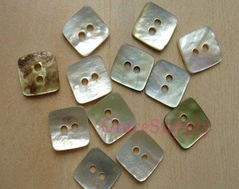 lot of 30 Abalone shell button square 11mm