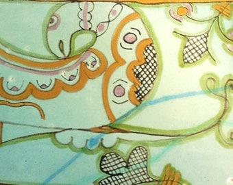 The birds.Italian majolica tile, original design.