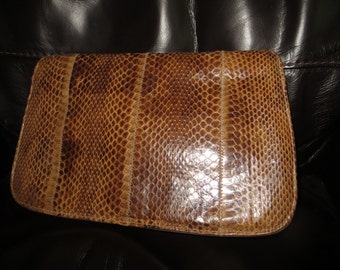 Vintage 1980s David Merler for the Dame Brown Snake Skin & Leather  Clutch Purse / Hand Bag