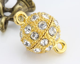 Crystal Magnetic Clasp - Gold plated brass - 10mm 10set
