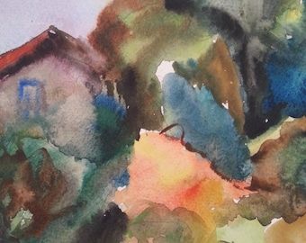 "Abstract painting, Israel art, Landscape, Vintage from the 1980s-  Original watercolor painting signed by Bella Sciaky (1907- 2001)6""X8"""