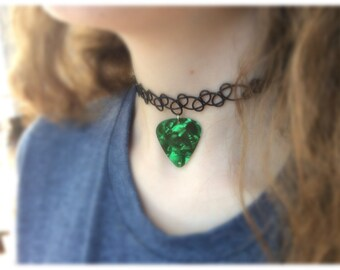 90s style black elastic tattoo choker with a rockin' guitar pick charm