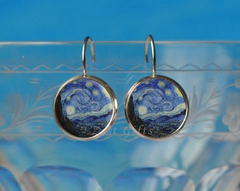 Van Gogh Earrings - Starry Night Jewelry for Women - Unique Art Painting Gifts for Her