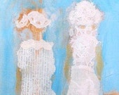 Two Ladies art, Two Ladies painting, Two Ladies, Friends Walking art, Two Women art, long narrow art, women walking, figurative, two ladies