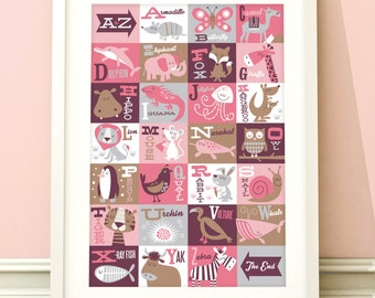Nursery art girl, A-Z animals print, alphabet art, girls room art, childrens wall art, baby girl, nursery decor, girls bedroom, A-Z print