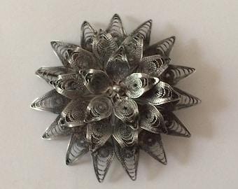 Sterling Silver Antique Filigree Brooch