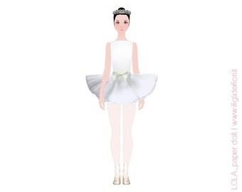 Ballet dancer paper doll, dress up doll, Lola paperdolls, imaginative toys, printable paper doll, printables kids, instant download
