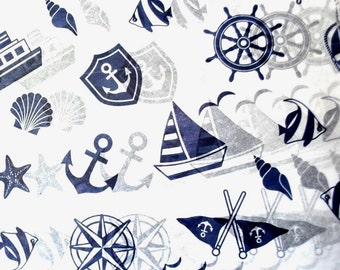 "Nautical print Tissue Paper # 375 / Gift Wrap Paper .... Boat, Sailors, Fish  .... 10 large sheets ...20"" x 30"""