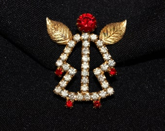 Adorable rhinestone and goldtone angel figural pin - Good condition - Unsigned
