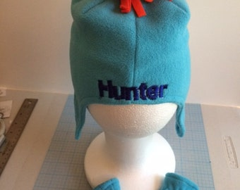 Baby One-Eyed Monster Fleece Hat & Mittens Set  - Personalized Size 0-6 Months