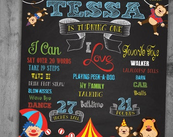 Circus Chalk Board Birthday Poster