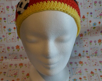Crochet headband. Germany fan football. World Cup of 2014th crocheted application football. Unique