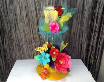 Mad hatter centerpiece,centerpiece, tea party,  paper flower , mad hatter tea party,mad hatter hat