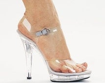 VIP 5 inch Handmade Clear Bikini Fitness Competition Ankle Strap High Heel Sandals Shoes (Other Platform Heights Available!)