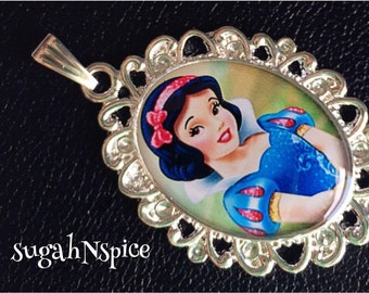 Princess Snow White necklace pendant Inspired Necklace Pendant Cabochon for Chunky Bubblegum necklaces Snow White pendant